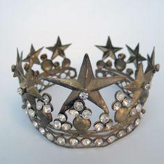 Vintage looking old gold star and rhinestone crown