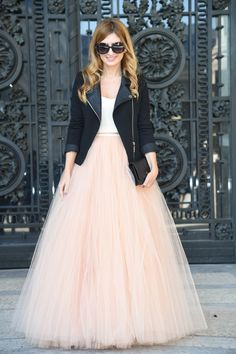 Spring Autumn Full Maxi Skirt Personalized Nature Waistline A Line Floor Length Long Tulle Skirt Puffy Pleated Skirts Women Maxi Outfits, Dance Outfits, Tulle Skirt Dress, Dress Up, Pleated Skirts, Tulle Skirts, Look Fashion, Paris Fashion, Bollywood Fashion