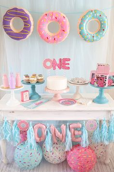 donut grow up evies birthday party inspiration.The top 20 Ideas About Birthday Decorations donut grow up evies birthday party inspiration.The top 20 Ideas About Birthday Decorations 1st Birthday Party For Girls, 1st Birthday Decorations, Donut Birthday Parties, Girl Birthday Themes, Donut Party, Birthday Ideas, 2nd Birthday, Princess Birthday, Colorful Birthday Party