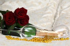 The Roses - Champagne, Rose, Flower, Grocery, Bead, Champagne Glass, Lovely, Glase, Bed, Valentine