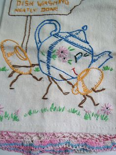 Vintage 1940s Embroidered Linen Tea Towel - Tatted Edge - Little Teapot