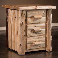 Cedar Lake Logger 3 Drawer Log Nightstand | Rustic Cedar Log Nightstand