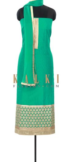 Buy Online from the link below. We ship worldwide (Free Shipping over US$100) Price- $49 Click Anywhere to Tag http://www.kalkifashion.com/moss-green-unstitched-suit-enhanced-in-zari-and-kundan-embroidery-only-on-kalki.html