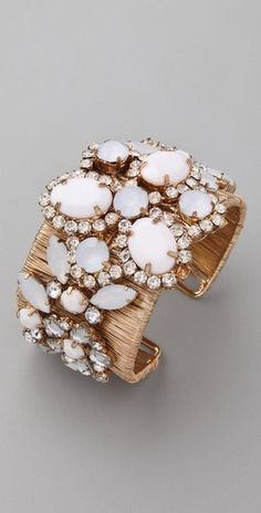 Adia Kibur Acrylic & Crystal Stone Cuff | white mother-of-pearl and gold