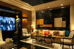 2013 Arch Digest Greenroom at the Oscars eclectic-living-room Home Theater Tv, Modern Art Deco, Eclectic Modern, Baker Furniture, Eclectic Living Room, Conceptual Design, Green Rooms, Architectural Digest, Family Room