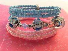 Pink and Blue Oval Wire Wrap Memory Baby by BlingItOutLoudCharms