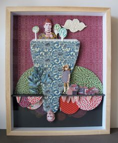 Julie Luger-Belair - Where gods fear to tread Collages, Wood Cradle, Box Art, Art Boxes, Outdoor Art, Shadow Box, Cartoon Art, Painting On Wood, Altered Art