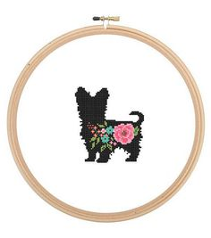 Yorkshire Terrier Silhouette Cross Stitch Pattern Floral
