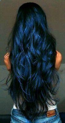 Navy Blue Hair, Hair Color For Black Hair, Cool Hair Color, Midnight Blue Hair, Black Hair Blue Tips, Blue Black Hair Dye, Hair Color Dark Blue, Vivid Hair Color, Teal Hair