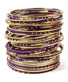 Gold & Purple Marakesh Bangle Set | zulily