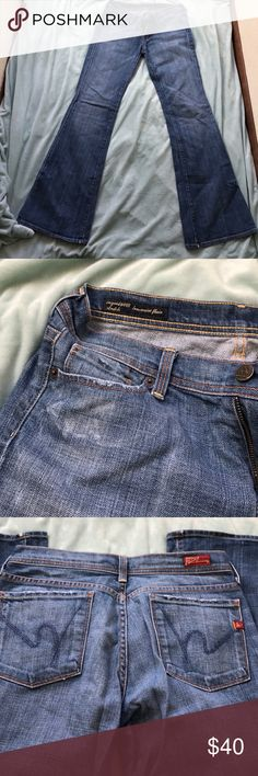 Citizens of Humanity Ingrid low waist flare Soft comfy jeans. Altered. 32 inch inseam. Size 28. There is some fraying I tried to make note of in the pictures. Citizens of Humanity Jeans Boot Cut