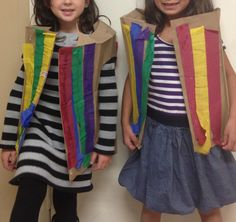 "Joseph's ""coat of many colors"" usjng a paper grocery bag and streamers!! Our prek-k class made these today"