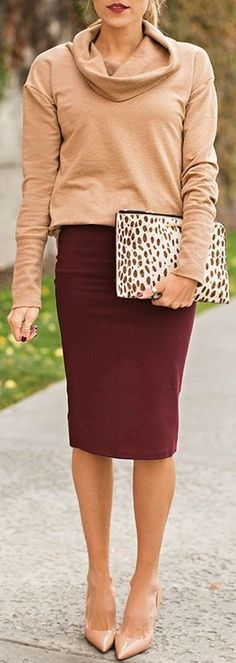 Burgundy Bodycon Midi Skirt and Camel Long Sleeve Hoodie Neck Sweater by Hello Fashion