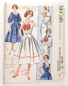 McCall's 4142 Misses 1950s Sailor Dress Pattern Bust 34 Nautical Middy Collar Full or Slim Skirt Vintage Sewing Pattern. $40.50, via Etsy.