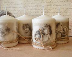 Svietidlá a sviečky - Sada 4 vintage sviečok  - 3159220