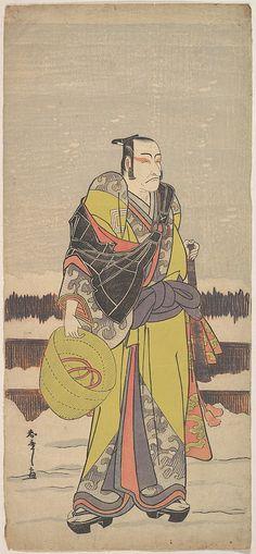 Danjurô V as Kakogawa Honzô with a Komuso Hat and a Flageolet