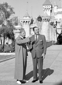 Walt Disney with king of Morocco - Magic Kingdom, Disneyland California