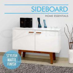 Uppsala Buffet Sideboard Scandinavian Retro Table Cabinet Dresser Matt White