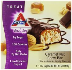 Atkins Endulge Treats, Caramel Nut Chew, 1.2oz Bar, 5 Count >> Details can be found  : Bars Snacks Weight loss dietry