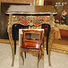 Diplomatic Pair Antique French Regency Style Demi Lune Marquetry Cherub Home Console Tables Tables Furniture
