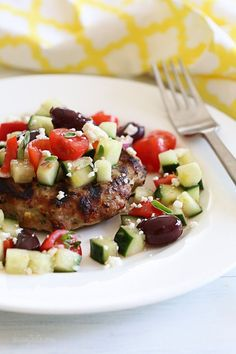 Naked Greek Feta-Zucchini Turkey Burgers – juicy turkey burgers topped with Greek Salad for the win!