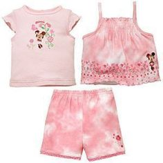 NWT Baby Girl 3-Pc. Disney Minnie Mouse Shirt and Short Set - 6 Months