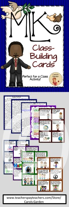 Martin Luther King, Jr. Class-Building Cards give students the opportunity to discuss with others the important contributions that Dr. King made to the civil rights movement during his lifetime, as well as the ongoing struggle for civil rights in today's world. $ #MLK #Martin Luther King #civil rights