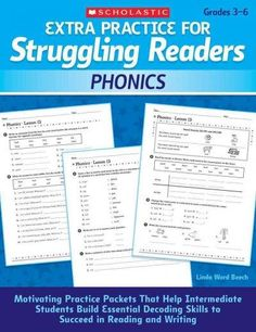 While phonics instruction is important for all readers, it is essential for older students whose underdeveloped reading skills impede content-area learning. This resource offers dozens of practice pag