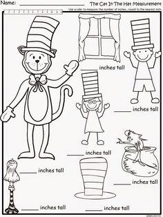 Free:  The Cat In The Hat Measurement. For educational purposes only...not for profit.  Based on the story by Dr. Seuss. 3 different types of measuring (paper clips, unifix cubes, rulers). Enjoy! Regina Davis aka Queen Chaos at Fairy Tales and Fiction By 2.