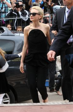 Stars Brave the Rain on the First Day of Cannes:  Carey Mulligan in Balenciaga by Alexander Wang