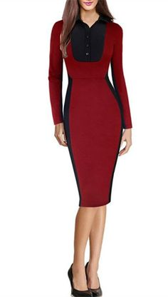 Graceful Shirt Collar Color Spliced Long Sleeve Bodycon Pencil Dress For Women
