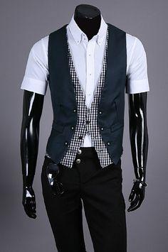 Men Fashion British Style Pattern Design Navy Cotton Vest M/L/XL@S5M03-1n