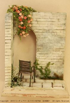 White brick wall and rose arch / miniature doll garden