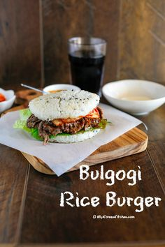 Bulgogi Rice Burger Recipe - This is a great way to enjoy Bulgogi in rice patty buns! Rice buns are unique, delicious and a healthier choice if you are gluten intolerant!   MyKoreanKitchen.com