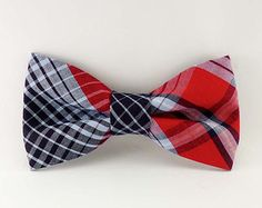 Plaid bow tie clip on adult mens, black and red tartan, pre tied clip-on mans bowtie, pretied bow tie womens