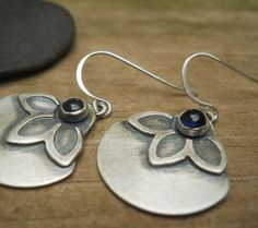 iolite flower earrings sterling silver hand by Q2jewelrycollection