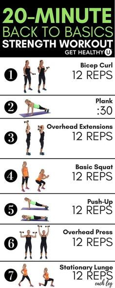 This 20-minute strength training routine contains some of these building blocks of fitness: squats, lunges, planks, push-ups, and more. Its a quick, total-body workout that utilizes all the major muscle groups through basic movements needed to build stre