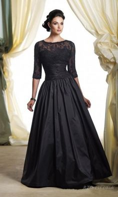 Beautiful Black Evening Gown with lace accent & 3/4 length sleeves ◆ Silhouette: A-Line ◆ Neckline: Bateau ◆ Gown Length: Long ◆ Waistline: Empire