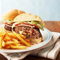 This flavorful hamburger is stuffed with bacon and cheese.