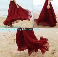 Summer Beach Dress women red long skirt chiffon by claireworkshop, $39.00