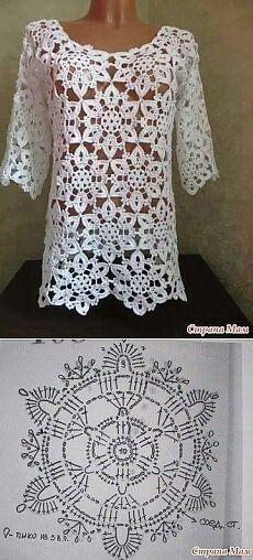 Transcendent Crochet a Solid Granny Square Ideas. Inconceivable Crochet a Solid Granny Square Ideas. Pull Crochet, Gilet Crochet, Crochet Tunic, Crochet Jacket, Irish Crochet, Crochet Clothes, Crochet Tops, Lace Tunic, Crochet Diagram
