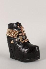 this is awesome!!! Privileged Vengeance Studded Pyramid Chain Lace Up Wedge Sneaker