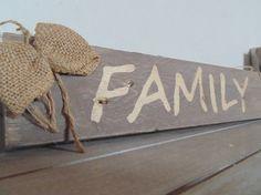 """Plaque de porte déco campagne bois de palette """"Family"""""""