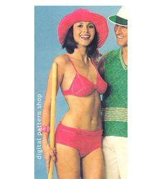 Bikini Crochet Pattern- Womens Crochet Bikini & Sun Hat Pattern Bathing Suit  Instant Download PDF Size 8 to 14- C96