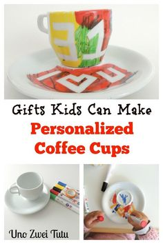 Personalized coffee cups. Gifts kids can make. Perfect for birthday, father's day, mother's day or christmas.
