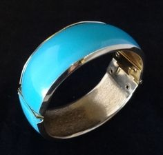 Blue Moonglow Lucite over Metal Hinge Bracelet