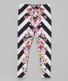 Loving this Citi Life Kids Black & White Zigzag Floral Leggings - Infant, Toddler & Girls on #zulily! #zulilyfinds