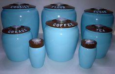 Vintage Kromex Canister's Complete Set Aqua Blue Brown | eBay