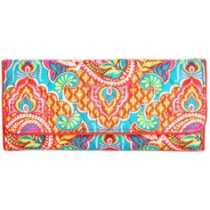Vera Bradley Signature Trifold Wallet ($42) ❤ liked on Polyvore featuring bags, wallets, paisley in paradise, trifold wallet, paisley wallet, print bags, paisley print bags and vera bradley wallet