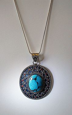 Vintage Silver and Turquoise Pendant Necklace  925 by barneysam2, $115.00